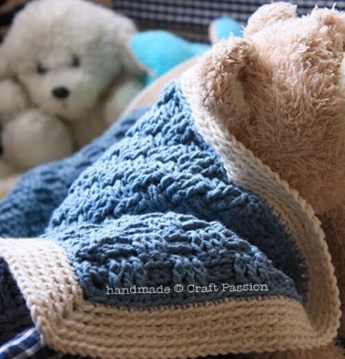 Basket Weave Afghan – Baby Blanket