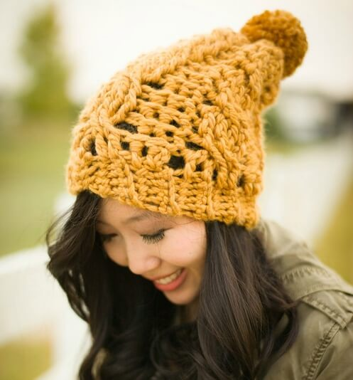 Chunky Cabled Slouchy Beanie