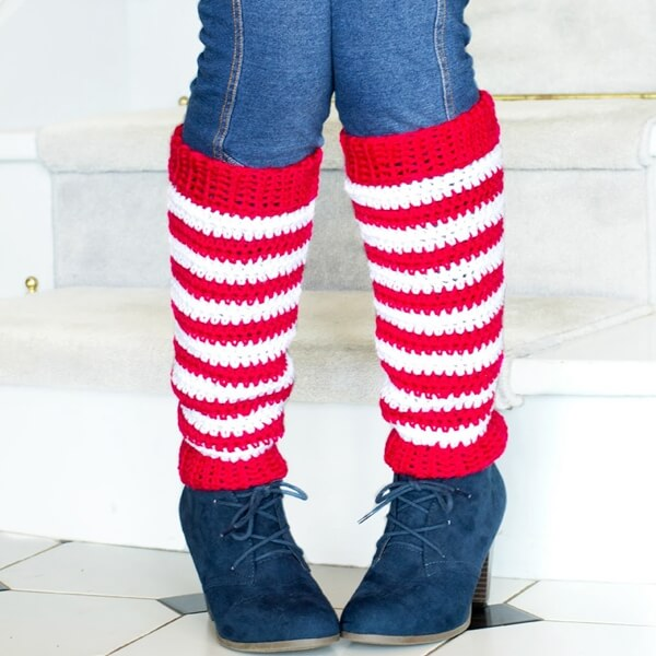 Adult Candy Cane Leg Warmers Crochet Pattern 7