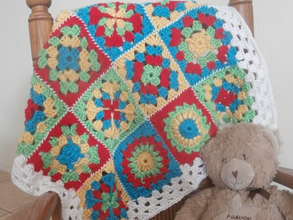 Sampler Granny Square Baby Afghan Share a Pattern