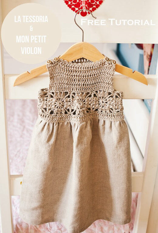 Granny Square Crochet / Fabric Dress