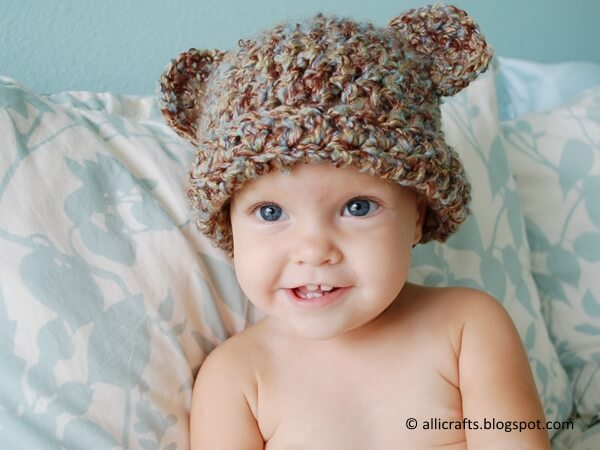 Fuzzy Bear Hat With Ears
