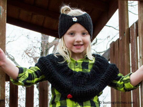 Black Shoulder Cowl & Headband Set
