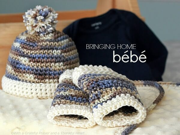 crochet baby boy hat beanie leg warmers fleece blanket w border WDS wm 6970