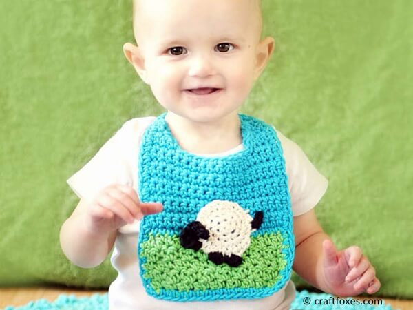 Baby Bib with Sheep Applique