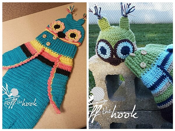 3 Button Baby Owl Cocoon & Hat