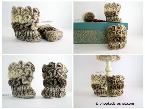 Crochet Ruffled Baby Booties