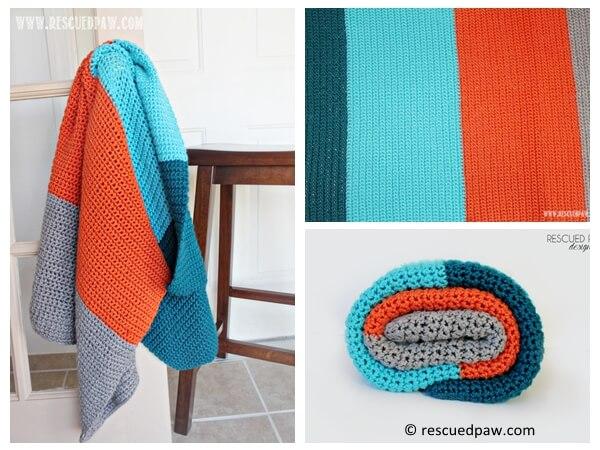 Simple Color Blocked Crochet Blanket