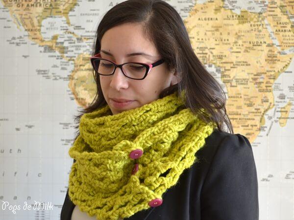 Crochet Chunky Trellis Scarf