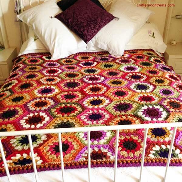 Autumn Colours Chunky Hexagon Blanket