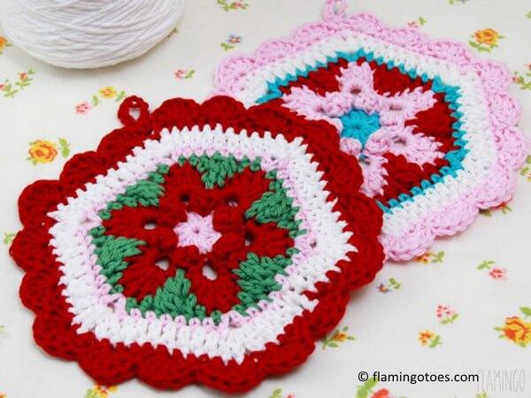 Crochet Star Lily Hexagon Potholder