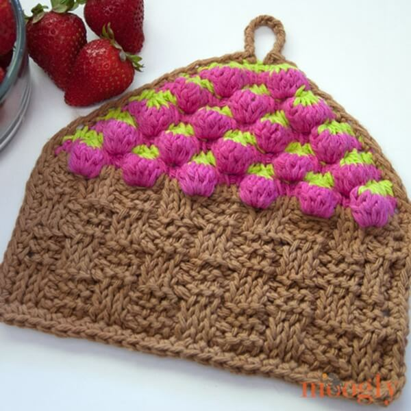 Strawberry Basket Tunisian Dishcloth