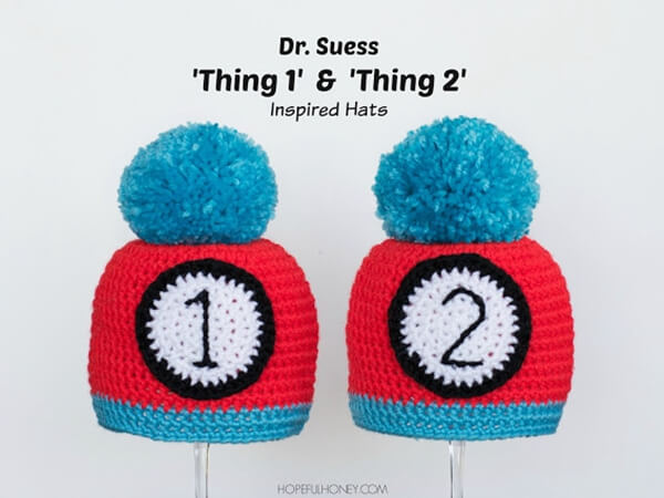 """""""Thing 1"""" and """"Thing 2"""" Inspired Baby Hat"""
