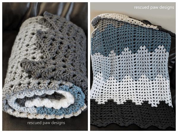 Rippling Trellis Crochet Blanket