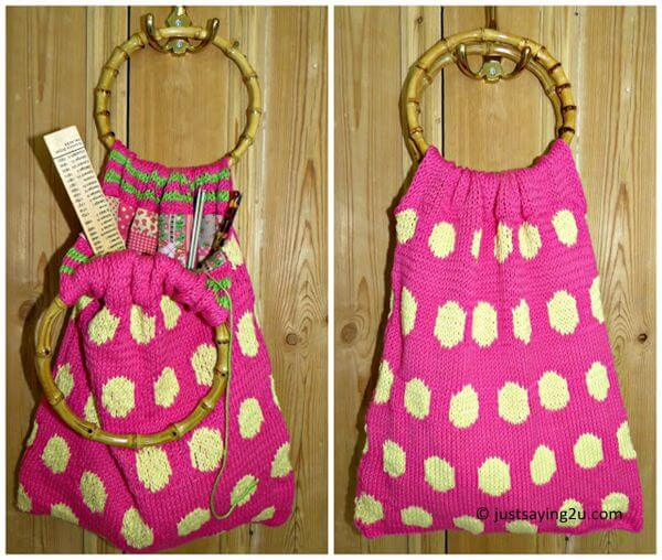 Spotty knitted bag