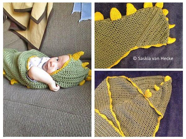 Dino Baby Hooded Blanket