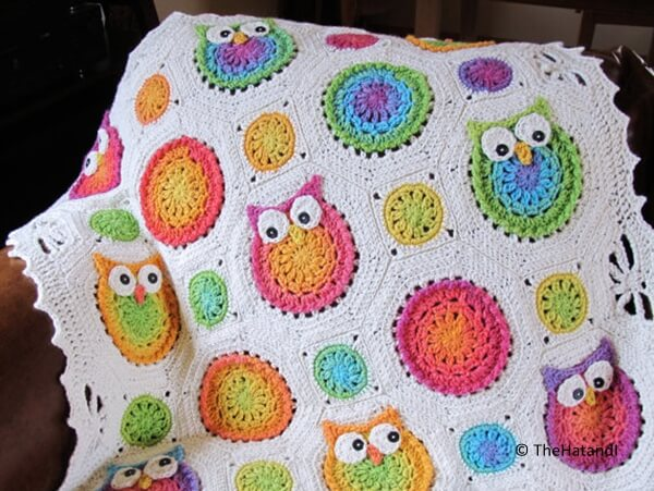 Colorful Owl Afghan