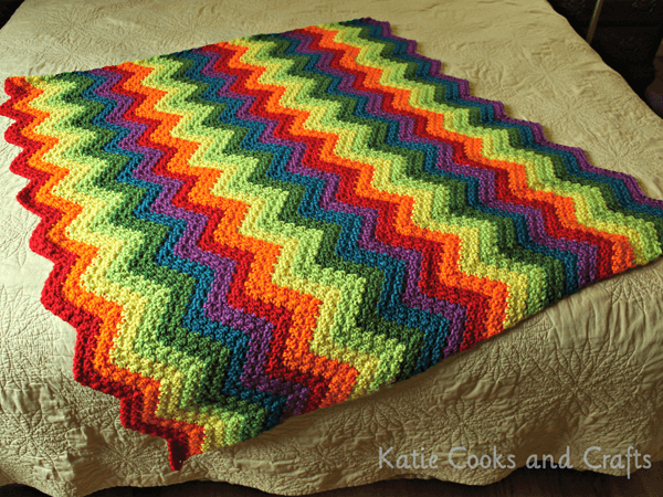 Rumpled Ripple Rainbow Crochet Baby Afghan Pattern