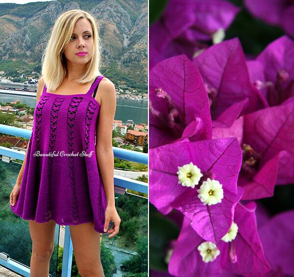 Crochet Purple Dress Free Pattern