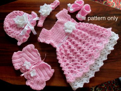 Baby Set Crochet Pattern (Baby Dress, hat, shoes, headband, shrug)