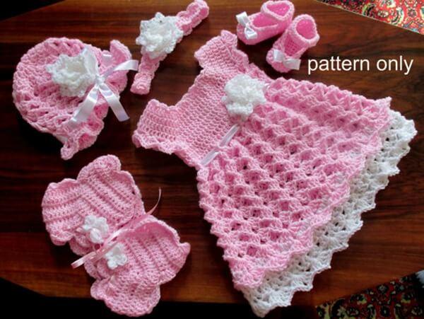 Baby Set Crochet PatternBaby Dress Hat Shoes Headband