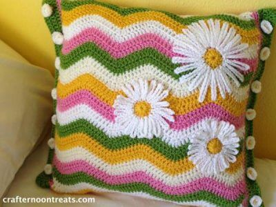 Daisy crochet ripple cushion taDah