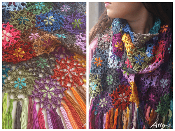 Flower Scarf made with leftovers