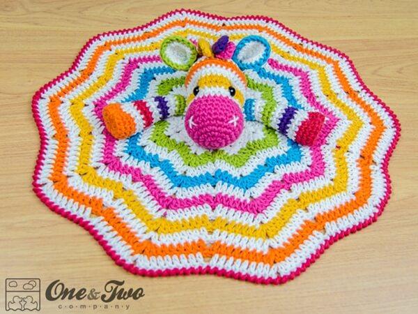 Rainbow Zebra Lovey Baby Blanket