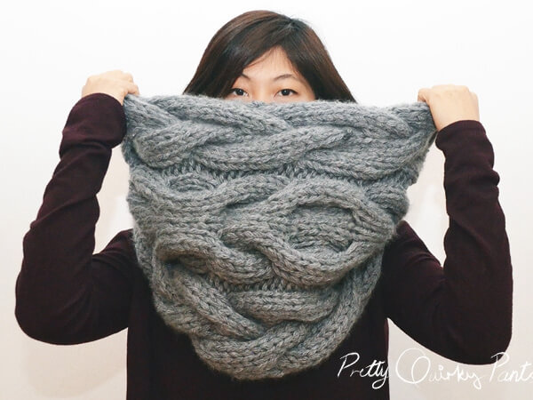 DIY Infinity Cable Knit Scarf