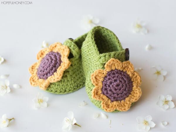 Sunflower Baby Booties