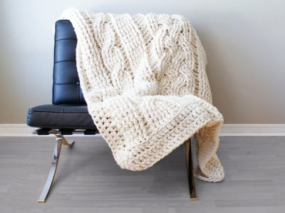 Super Chunky Double Cable Throw Blanket / Rug