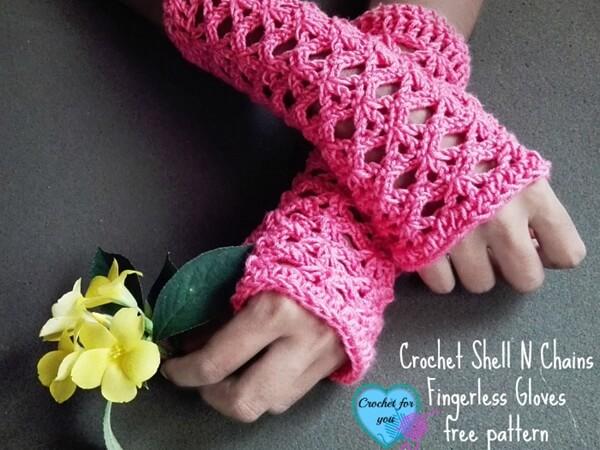 Crochet Shell N chains Fingerless Gloves