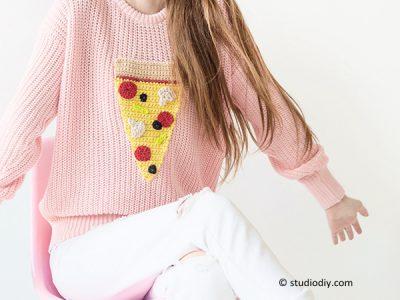DIY Crochet Pizza Sweater