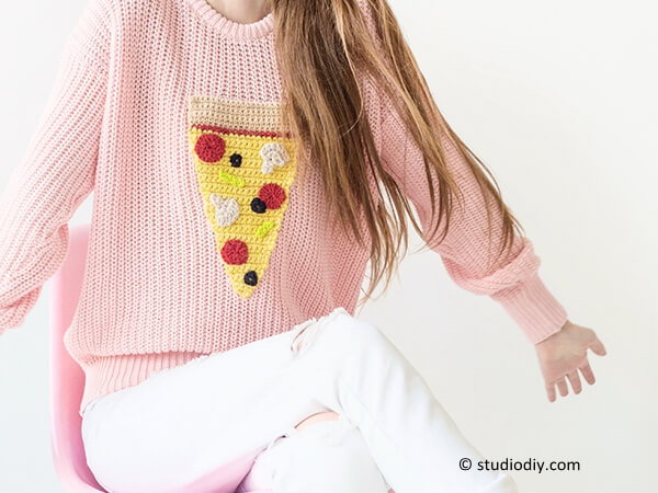 DIY Crochet Pizza Sweater