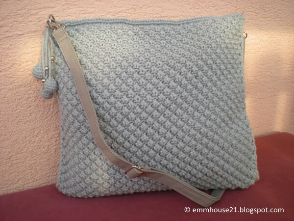 Grey bubble purse with beaded charm