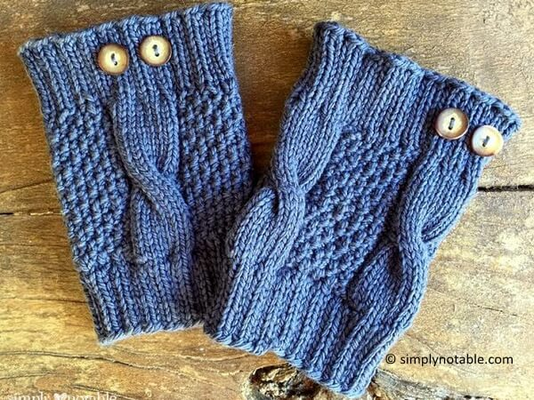 Simple Cable Knit Boot Cuffs