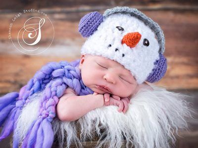 Snowman with earmuffs hat