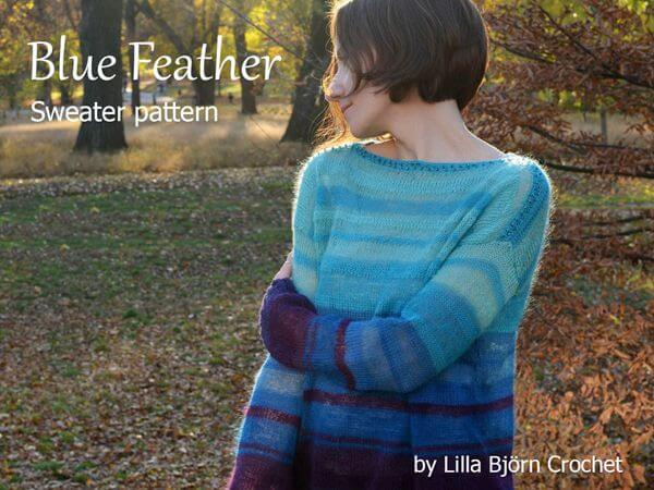 Blue Feather Sweater