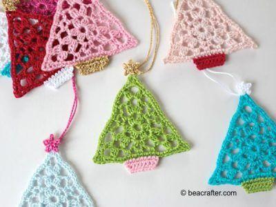 crochet christmas tree bunting triangles
