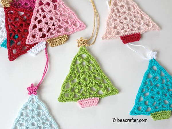 crochet christmas tree bunting triangles