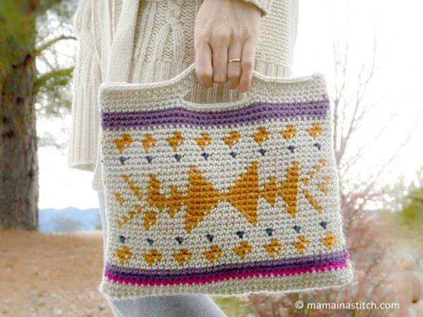 Crocheted Southwest Tote Bag
