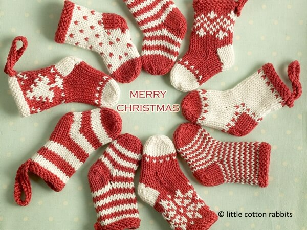 knitted mini christmas stockings