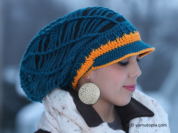 Slouchy Mesh Hat with Brim