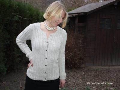 Beige Cable Rib Knit Jacket