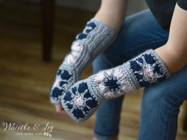Starburst Granny Square Arm Warmers