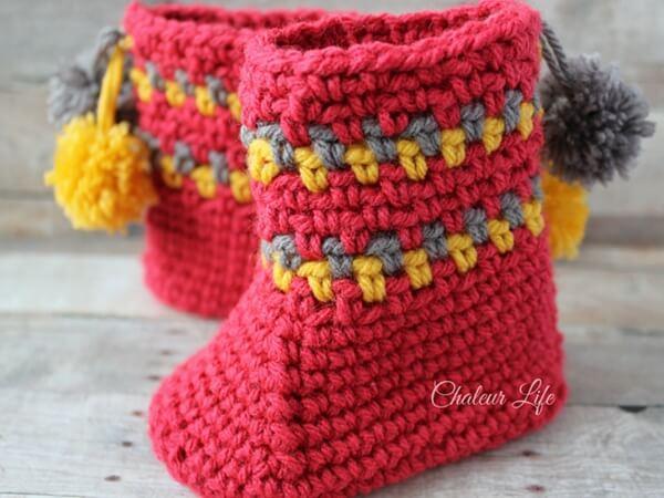 Pom Pom Slipper Boots