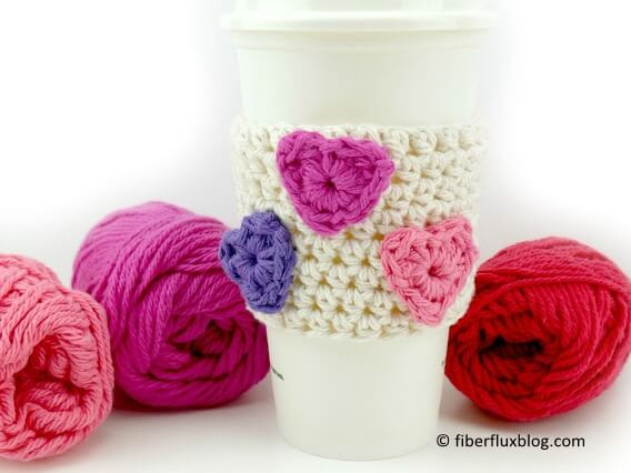 Candy Hearts Cup Cozy