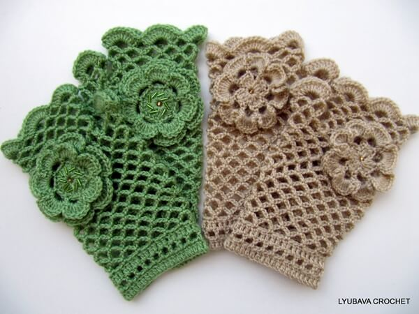 Crochet Lace Gloves With Flower