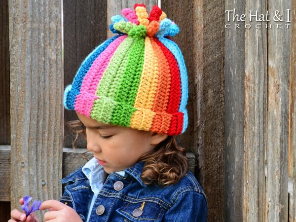 a colorful hat with corkscrews