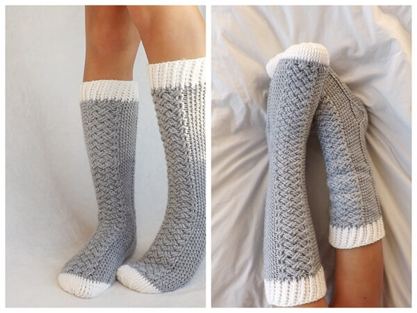 The Parker Cable Crochet Socks Share A Pattern